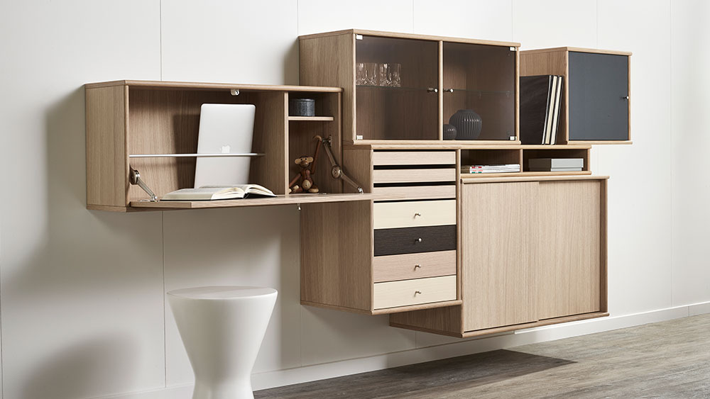 Mistral Cabinet Desk No 053 And 011 With Fronts In Whitepigm Oak Matt Lac 1x172 Set Of Trays 1x136 Drawer